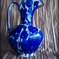 blue and white pottery pitcher