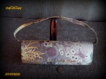 oriental style purse, hand held, embroidered satin