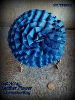 make up bag, blue leather, 3D rose pattern