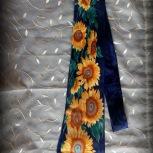 neck tie, sunflowers