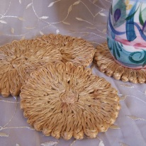 natural fiber flower coasters