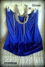 ladies shirt, blue, sleeveless, beaded neck tie