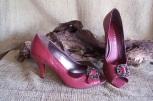 low heels, red, faux reptile pattern, buckle toe