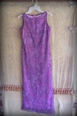 vintage, long dress, sleeveless, purple paisley pattern, 1960's