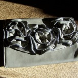 clutch purse, gray, 3D roses