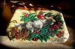 embellished purse, hand held or short shoulder strap, hunting dogs, beads