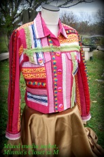 button up jacket, multi pattern/mulit fabric