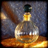 perfume bottle, clear glass, ribbed, new