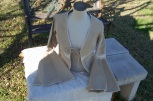 gypsy shirt, tan suede and ivory crochet, long flair sleeves, single tie front