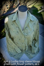 button up shirt, green, embroidered flowers