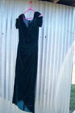 velvet gown, on and off shoulder