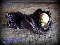 Painted Egg w/ Mesquite Stand, oriental scene