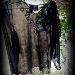 gauze shirt, long sleeved, black sheer, Faded Glory