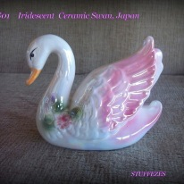 Iridescent Ceramic Swan