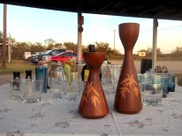 wood marquertry candle holders