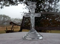 Jesus on the Cross; glass candlestick holder