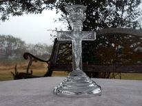 Jesus on the Cross; glass candlestick holder
