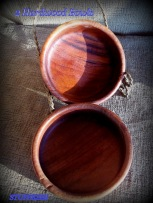 thick wood bowls, set of two, some cracks