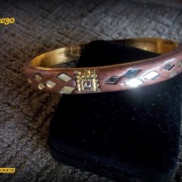 bangle bracelet, copper color resin,mirrored diamond pattern