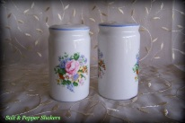 ceramic salt & pepper shakers, floral bouquet