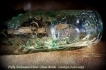 embossed bottle, clear glass, fruit motif