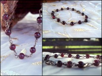 1-bracelet, small deep red round stones , chain links