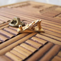 wood plane tack pin, goldtone