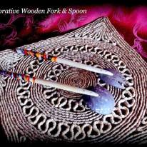 souvenir decorative wood fork & spoon