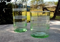 light green striped drinking glasses