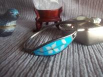 Alpaca silver enamel MOP cuff bracelet