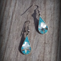 sterling silver earrings, Alpaca,blue white lotus flower