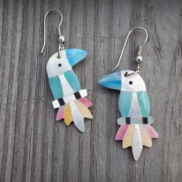 parrot earrings, mother of pearl