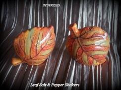 ceramic leaves salt & pepper shakers