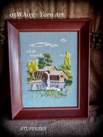 Yarn Art - mill and waterwheel