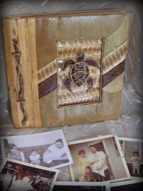 Polynesian photo album, natural fiber covers