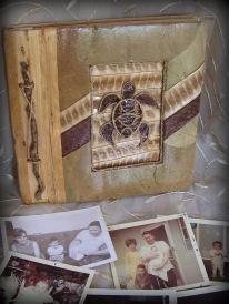 Polynesian photo album, natural fiber covers
